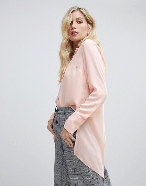 Image 1 of Oasis longline shirt with wrap detail in light pink