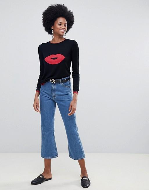 Immagine 1 di Oasis - Maglione girocollo con stampa di labbra