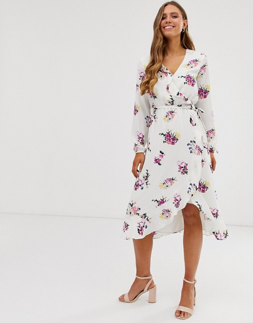 d921170c1eb Oasis midi wrap dress with long sleeves in white floral print