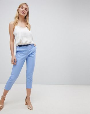 Image 1 of Oasis slim leg cropped trousers in blue