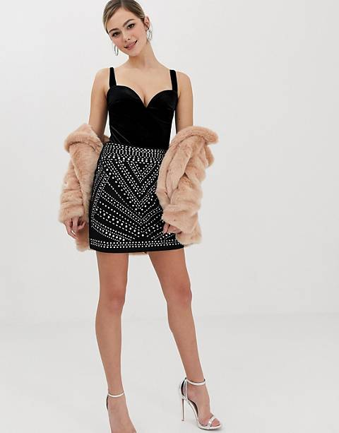Oasis studded a-line mini skirt in black