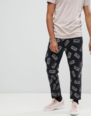 Obey Bender eyes print jeans in black