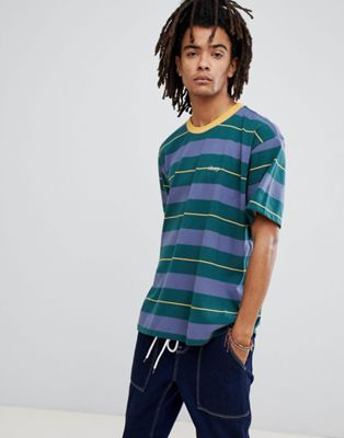 Image 1 of Obey Boxy Striped T-Shirt In Green