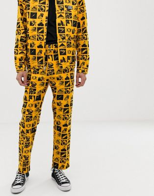 Image 1 of Obey Chaos carpenter work pant with all over print in yellow