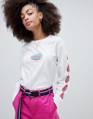 Obey - T-shirt comoda con logo anni '90 e maniche lunghe stampate