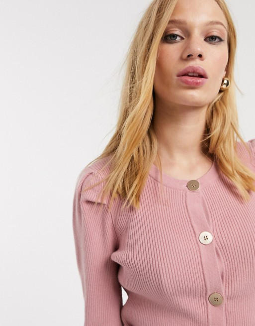 Object   Cardigan à épaules Bouffantes   Rose by Object