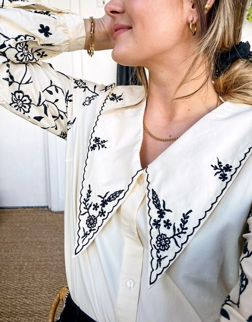 Object embroidered collar shirt in cream