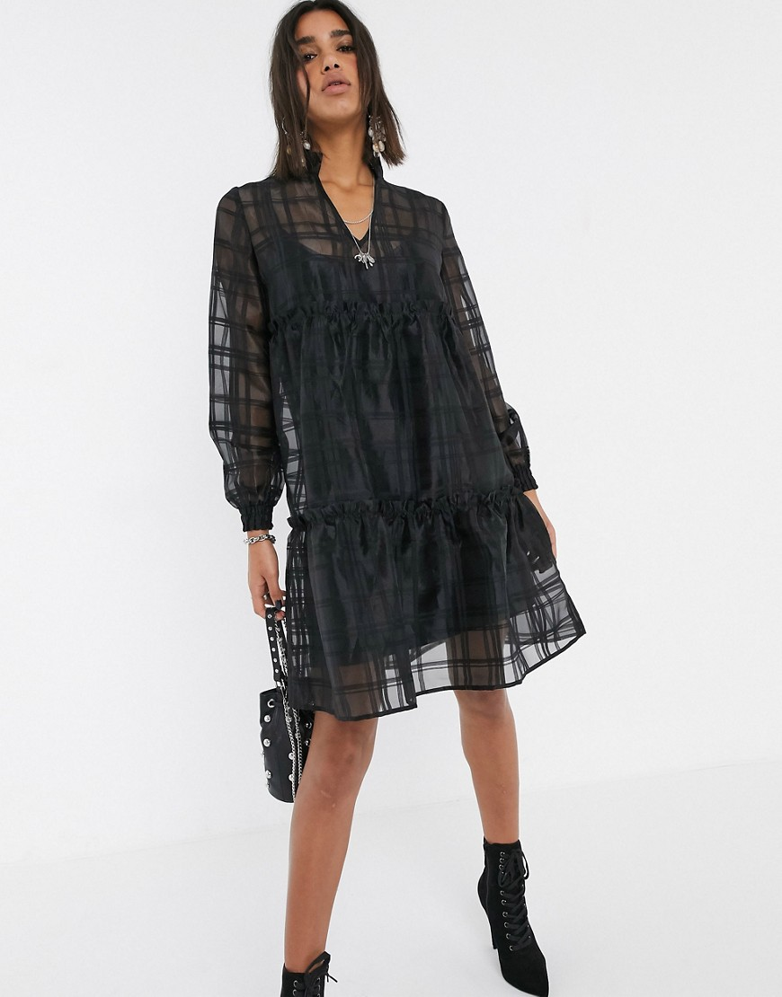 Object oversized organza tiered smock dress-Black - Object online sale