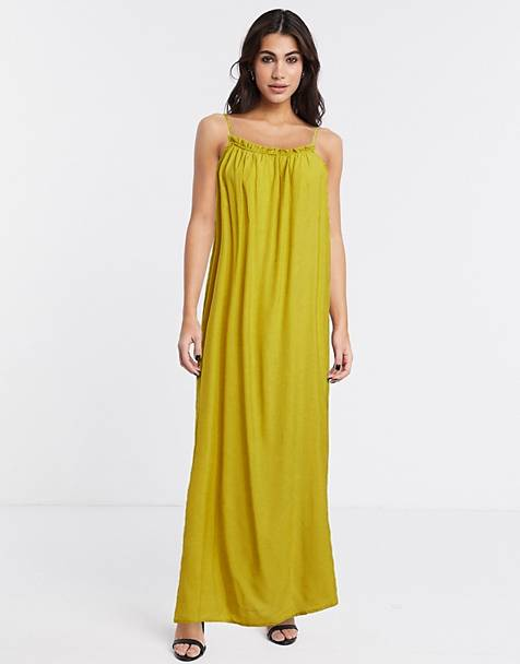 Object ruffle detail cami maxi dress in green