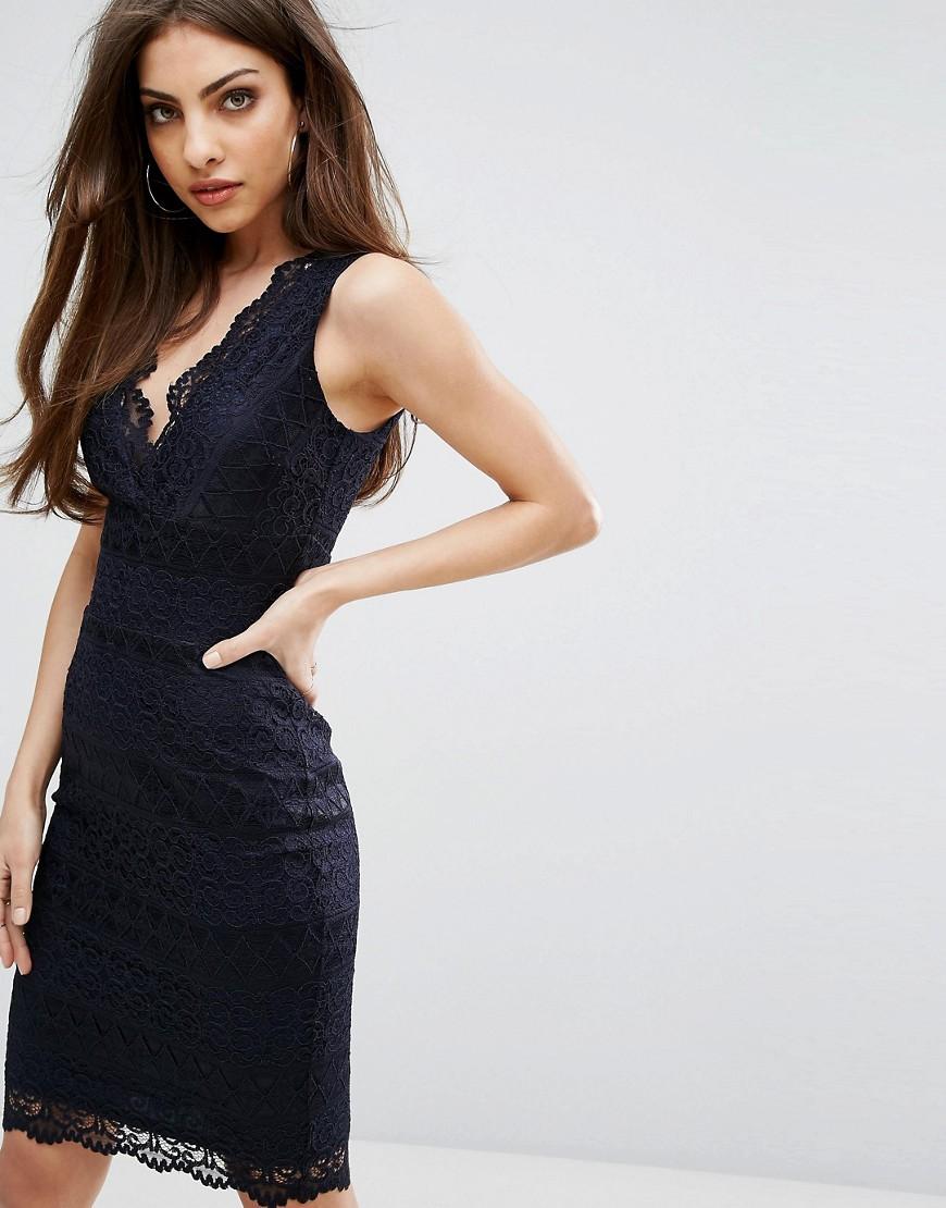 Облегающее кружевное платье миди Lipsy-Темно-синий