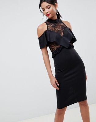 Облегающее платье миди с прозрачным кружевом и оборками ASOS