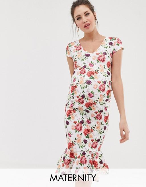 Изображение 1 из Облегающее платье с короткими рукавами и цветочным принтом Bluebelle Maternity