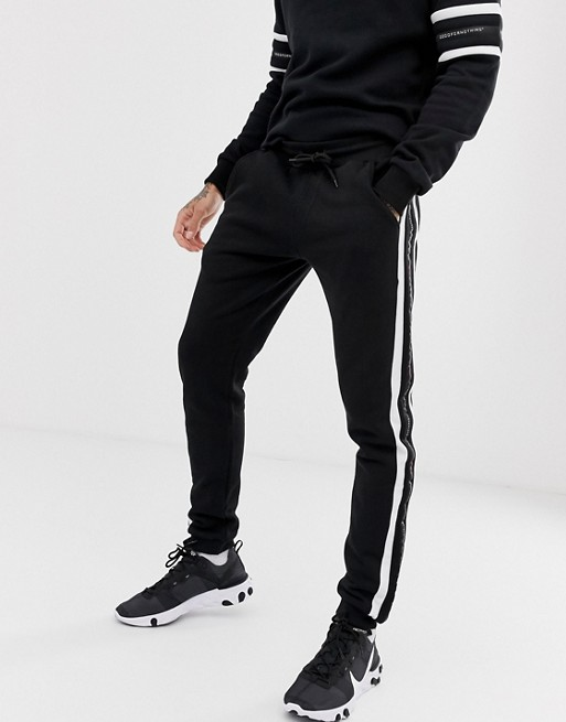 Изображение 1 из Облегающие черные джоггеры с полосками и логотипом Good For Nothing