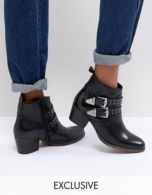5eedae7614b6 Office Alexia Black Leather Western Ankle Boots