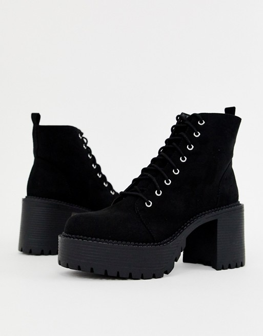 Image 1 of Office Animal black lace up chunky heeled boot
