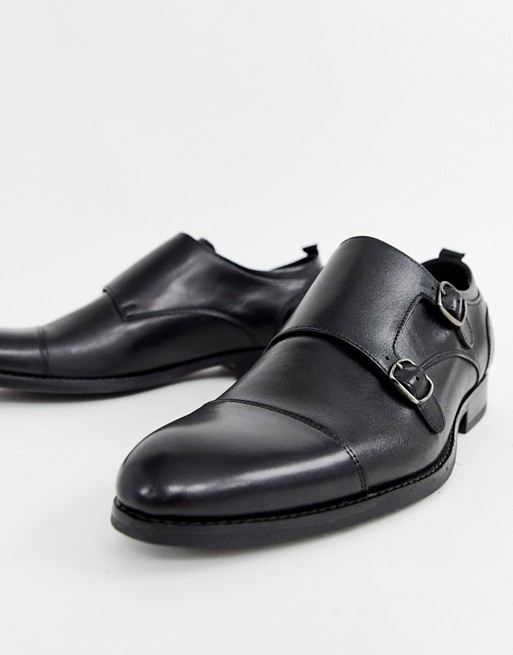 Office Illusive monk shoes in black leather
