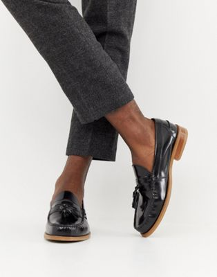 Office Invasion tassel loafers in black high shine