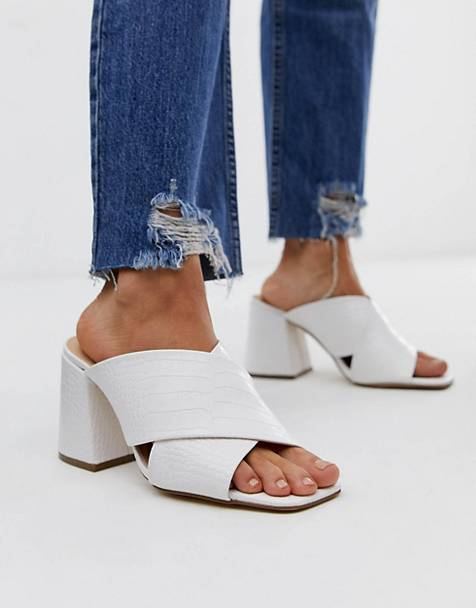 Office Mansion white croc chunky block heel sandals
