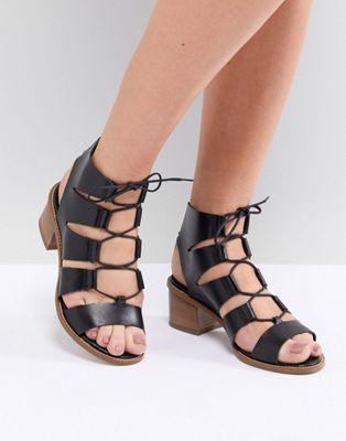 Office Misteria Leather Lace Up Block Heeled Sandals