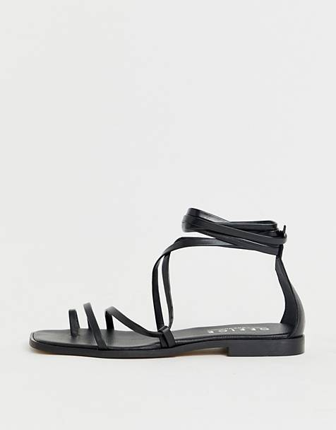 a630f9c07 Office Seaweed black leather barely there sqaure toe loop sandals