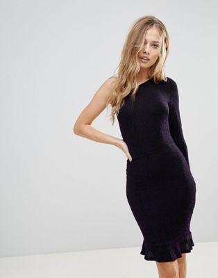 Image 1 of Oh My Love One Shoulder Pephem Bodycon Dress