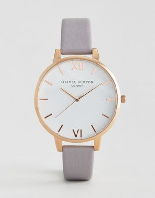 Olivia Burton Grey Lilac Large White Dial Leather Watch