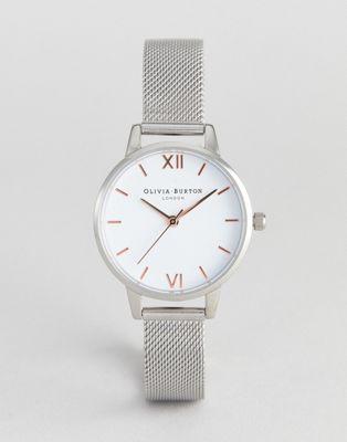 Olivia Burton - OB16MDW22 - Orologio argento con quadrante bianco e cinturino a maglie medie