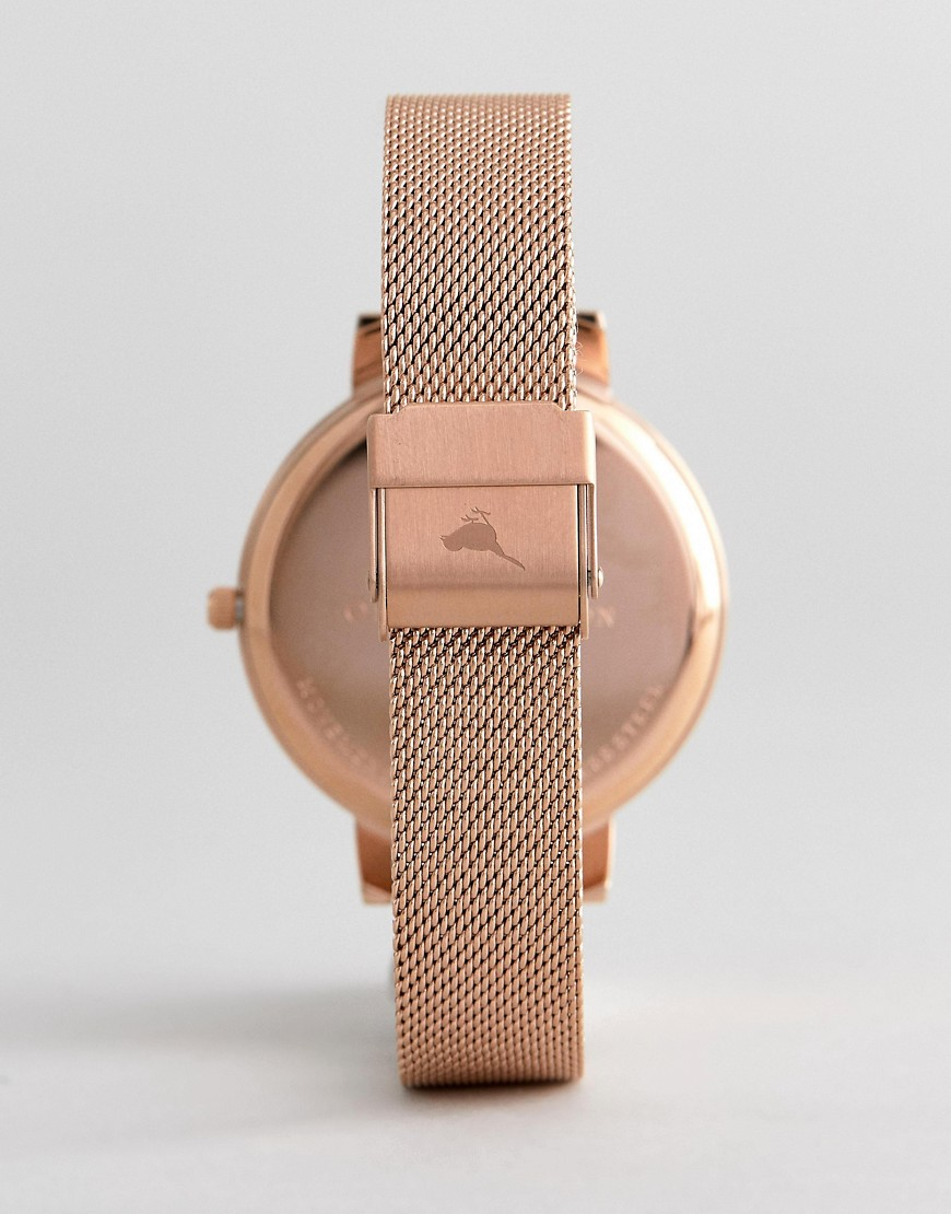 Olivia Burton Ob16 Vm26 Abstract Floral Mesh Watch In Rose Gold by Olivia Burton