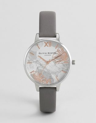 Olivia Burton OB16VM32 Abstract Floral Leather Watch In Gray