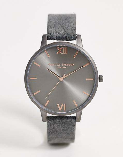 Olivia Burton Shoreditch leather watch in gray