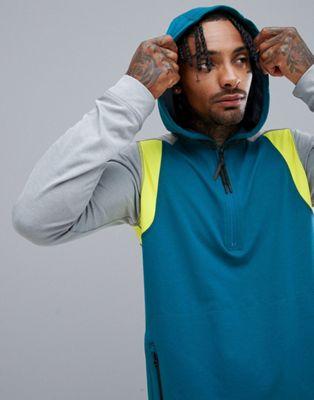 O'Neill – Activewear Force – Hyperdry-Kapuzenpullover mit halblangem Reißverschluss in Blau/Grau