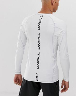 Afbeelding 1 van O'Neill - Rashguard met logo en lange mouwen in wit
