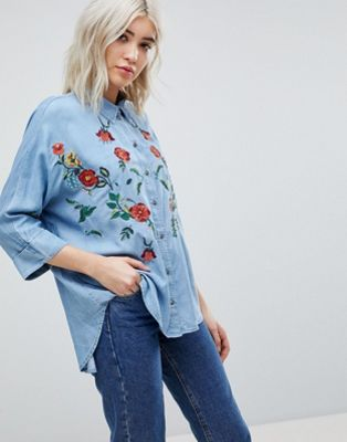 Only Embroidered Denim Shirt