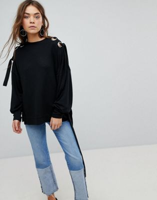 Only Jumper With Eyelet Detail