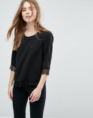 Image 1 of Only Lin Mia Lace Hem Top