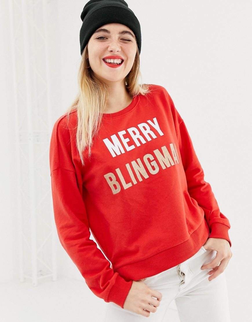 only -  – Merry Blingmas – Weihnachtspullover-Rot