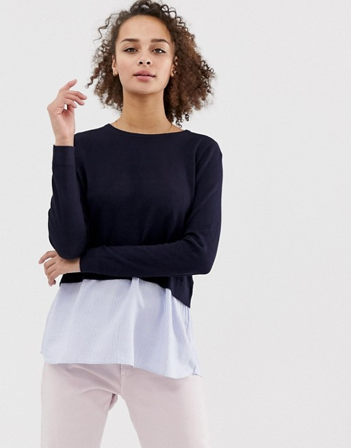 Only New Oxford jumper with shirt underlay