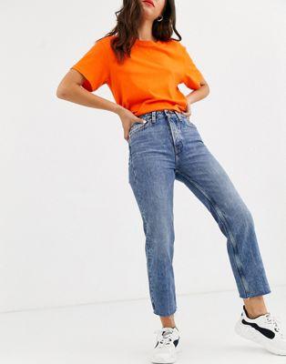 Only – Niebieskie jeansy z wysokim stanem i prostymi nogawkami o skróconej długości