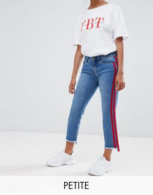 Only Petite straight leg crop jean with sports stripe