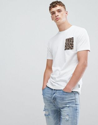 Image 1 of Only & Sons Leopard Print Pocket T-Shirt