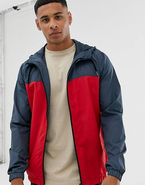 Only & Sons lightweight windbreaker in red color block