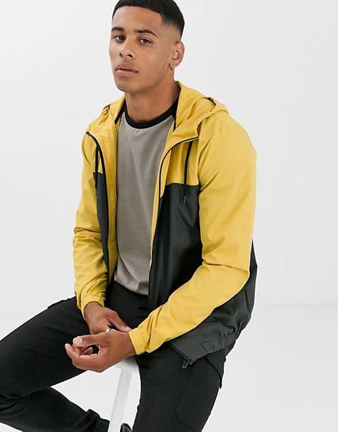 Only & Sons lightweight windbreaker in yellow color block