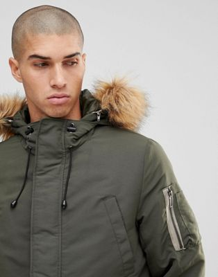 Image 1 of Only & Sons Padded Jacket With Removable Faux Fur Hood