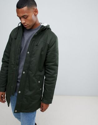 Image 1 of Only & Sons parka with fleece lined hood