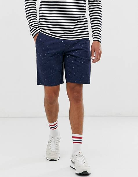 Only & Sons printed chino shorts in navy