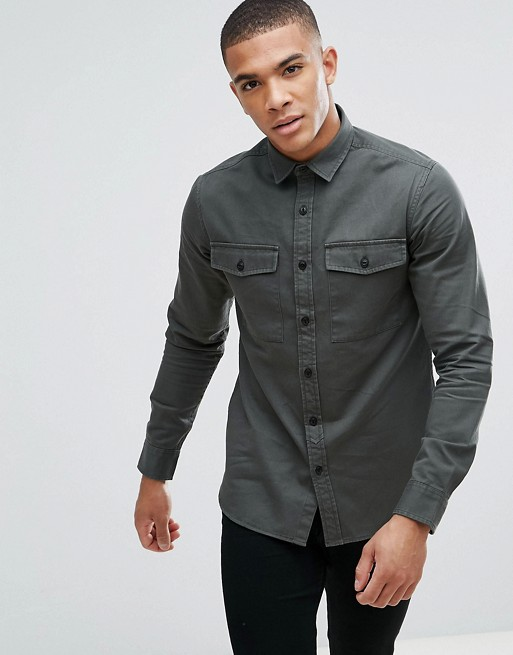 Only & Sons Shirt In Slim Fit Military Twill