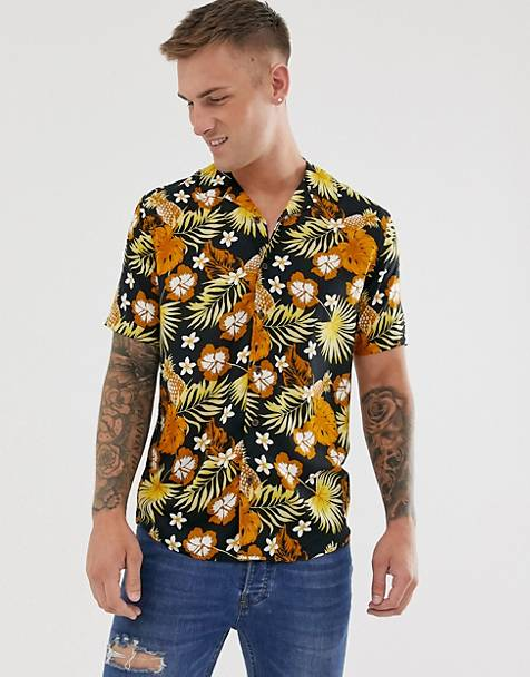 Only & Sons short sleeve revere collar shirt with floral print