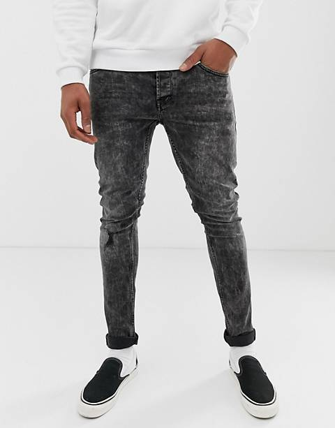 Only & Sons skinny jeans in black acid wash