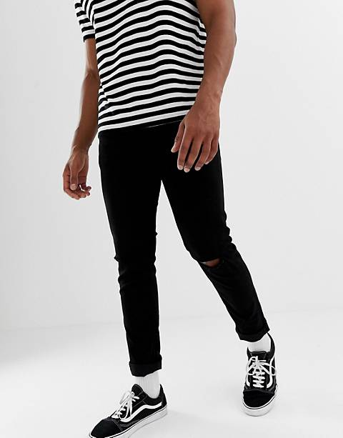 Only & Sons Skinny Jeans In Black With Knee Rip