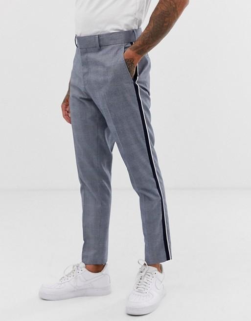 Afbeelding 1 van Only & Sons - Slim-fit pantalon met ruit en streep aan de zijkant